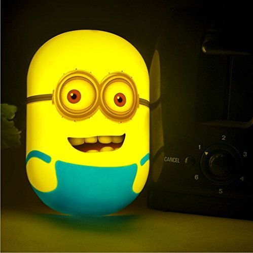 Nichome 3D Intelligent light-control sensor Minions Wallpaper Wall Stickers Plug-in Night Lamp for Home Decoration, Bedroom, Living Room, Children's room (two eyes)