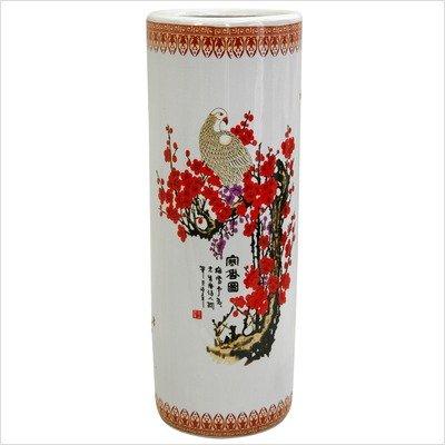 Umbrella Stand with Cherry Blossom Design in White