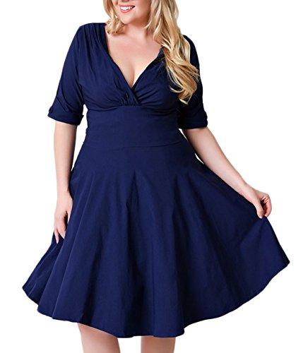 Nemidor Women's Vintage 1950s Style Sleeved Plus Size Swing Dress (20W, Blue)