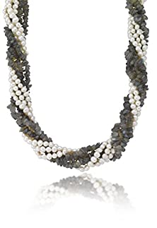buy Sterling Silver 6 Row Twisted Fresh Water Pearls With (445Ctw) Labrodorite Necklace