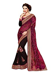 Infigo Women Black Raw Silk Embroidered Saree