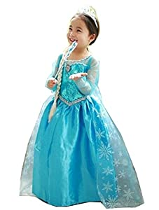 Princess Inspired Girls Costume Dress - Princess Costume with Bracelet for Mom (8-10 Years (With Bracelet for Mom))