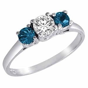 3 Diamant Bleu en Pierre et Diamant Blanc Accented Bague de Fiançailles en Platine (1 cttw) - La Taille 52