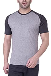 Upbeat Men's Grey Raglan Sleeve Round Neck Cotton T-Shirt for Men- L