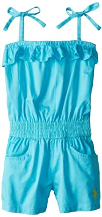 U.S. POLO ASSN. Little Girls' Ruffled Top Twill Romper, Turquoise, 2T