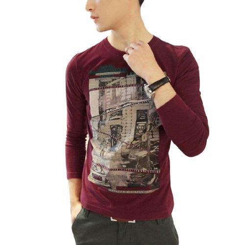 Mens Stylish Long Sleeve Painting Printed Pullover Casual Shirt Tops