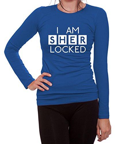 Women's I Am Sherlocked Sherlock Holmes Inspired Long Sleeve T Shirt Large Royal Blue