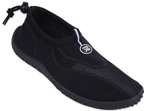 Womens Water Shoes Aqua Socks Pool Beach ,Yoga,Dance and Exercise 4 Colors,7 B(M) US,Black-2907