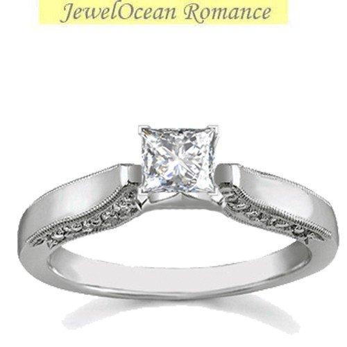 0.58 Carat Solitaire Diamond Wedding Ring with Princess cut Diamond on 18K White gold