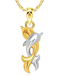 VK Jewels Dual Dolphin Gold And Rhodium Plated Pendant Made With Cubic Zirconia - P1879G [VKP1879G]