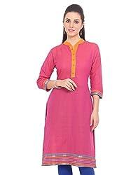 Adyana Women's Kurti (AD084_Pink_Large)