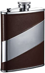 "Visol ""Nathan"" Leather Stainless Steel Hip Flask, 6-Ounce, Brown"