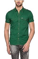 Spykar Men Cotton Forest Green Casual Shirt (Medium)