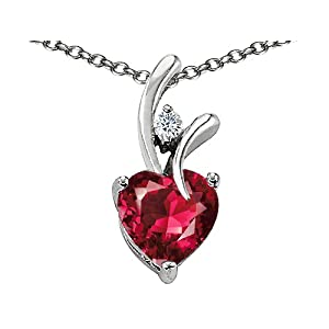 Sterling Silver Heart Shaped Ruby Pendant