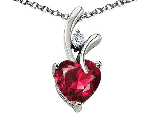 1.95 cttw 925 Sterling Silver 14K Gold Plated Lab Created Heart Shaped Ruby Pendant