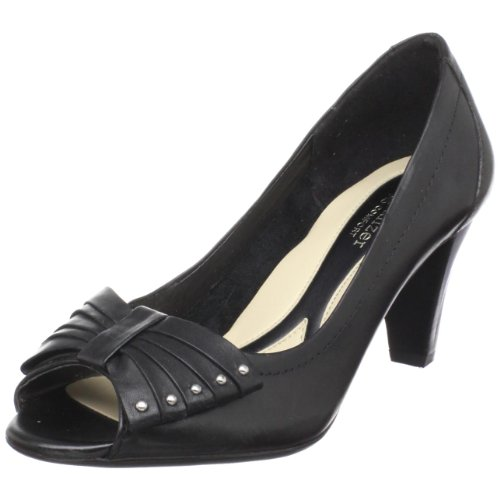 Naturalizer Women's Glenda Open-Toe Pump,Black Leather,11 N US