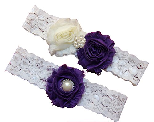 Wedding Garter Set, Eggplant Purple Ivory Chiffon Flowers w/ Pearl Rhinestone