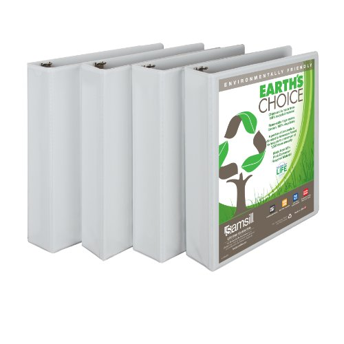 Image of Samsill Earth's Choice View Binder, Round Ring, White, 1.5-Inch, 4 Pack