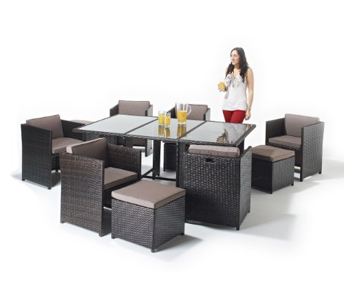 Montana Rattan Dining Set 10 Seater Garden Furniture Suite