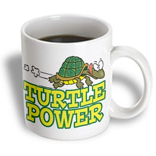 3Drose Turtle Power Cute Turtle Cartoon Ceramic Mug, 15-Ounce