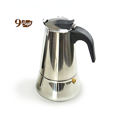 9-Cup Stovetop Moka Pot Espresso Machine Coffeemaker Combos, Stainless Steel