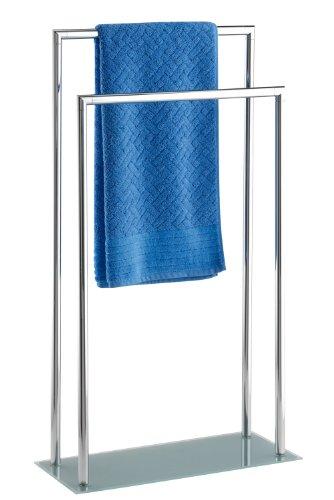 WENKO 17775100 Piantana porta salviette Style - a gradini, 2 aste, base in vetro, Acciaio, 46 x 82 x 20 cm, Cromo