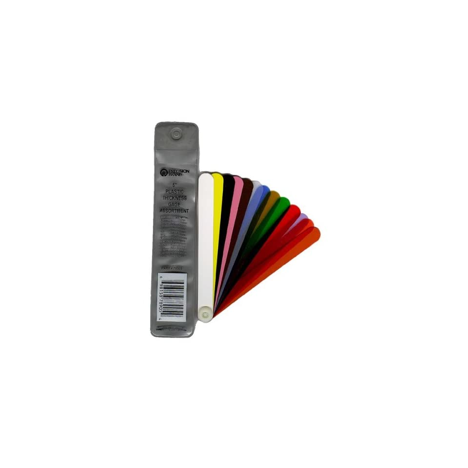 0.001-0.03 Thickness Range 1//2 Width Precision Brand 78905  Plastic Thickness Gage Fan Blade Assortment 13 Blades 5 Length