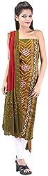 Shreya Bandhej Women's Cotton UnStitched Dress Material (SB16-OlR, Olive & Maroon )