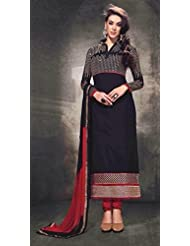 Designer Dress Material Black Semi Stiched Straight Cut Salwar Kameez Suit. - B00ZUN808Q
