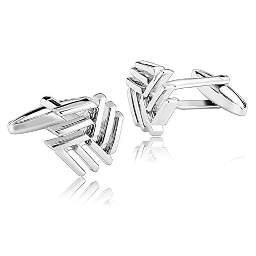 Men Cuff Links Stainless Steel Silver Hollow Snowflake Cufflinks for Men by Aienid (J Goodman Cufflinks compare prices)
