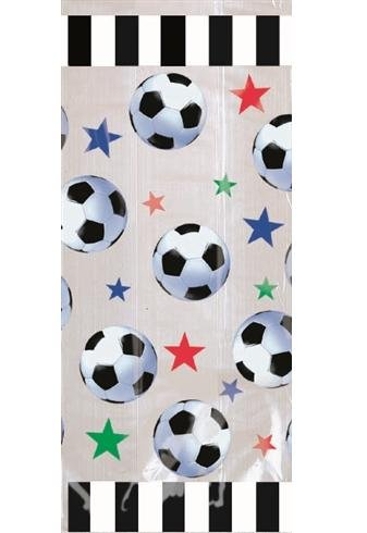 Soccer Large Cello Treat Bags with Green Twist Ties - 20/Pack