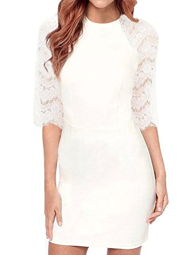 Allegra K Lady Round Neck Elbow Sleeves Semi Sheer Lace Bodycon Dress White L
