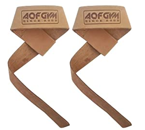 AQF Leather Weight Lifting wrist Straps Pair For Barbell Bar WeightLifting Wrist support Strap