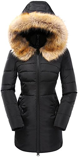Valuker Women's Down Coat With Fur Hood 90D Parka Puffer Jacket 57-Black-L (Ladies Winter Coats With Hoods compare prices)