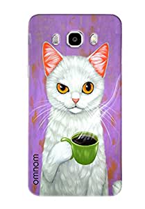 Omnam Cat Drinking Tea Printed Designer Back Cover Case For Samsung Galaxy J7 (2016)