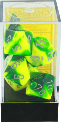Polyhedral 7-Die Gemini Dice Set: Green & Yellow With Silver (D4, D6, D8, D10, D12, D20 & D00)