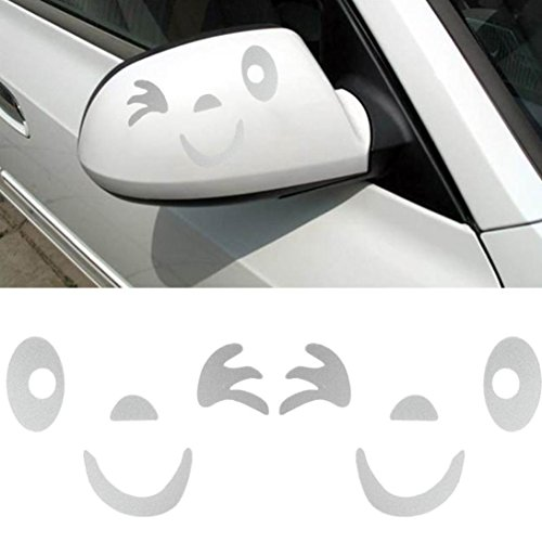 Iuhan Fashion Smile Face Design 3D Decoration Sticker For Car Side Mirror Rearview (White) (Zombie Face Off Target Holder compare prices)