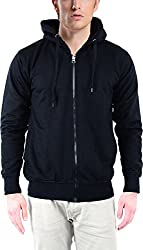 vibgyor Men's Cotton Sweatshirt (VSWAQBLCHN_42, Black, 42)