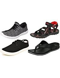 Maddy Perfect Combo Of Sport Shoes, Sneaker, Sandal & Slipper For Men Pack Of 4 In Various Sizes