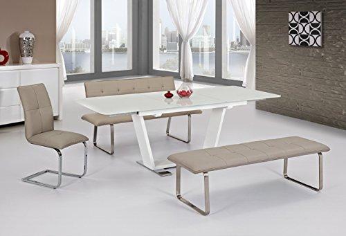 Esstisch sever iv ausziehbar 160 220x76x90cm hochglanz for Esstisch marmor weiss
