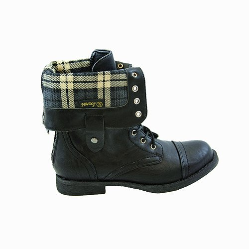 New! Black Military Combat Boot Fold-over Cuff + Zipper on the Back