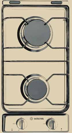 Verona: CTG212FDB 12'' Gas Cooktop with 2 Sealed Burners, Electronic Ignition & Porcelain Grates: Bisque