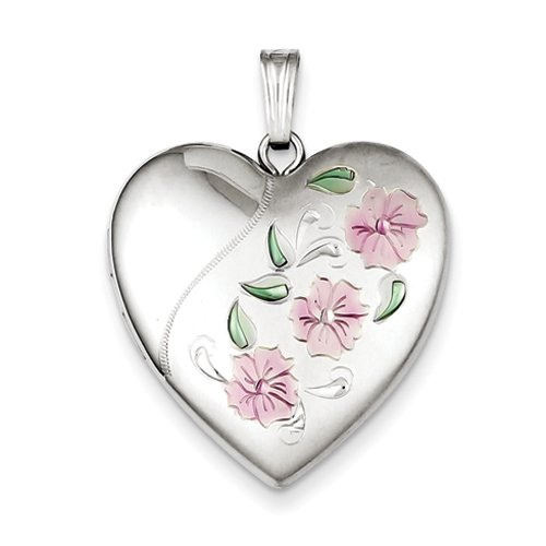 Sterling Silver 24mm Enameled, D/C Floral Heart Locket