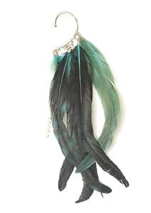 Dangling Feathers Fringe Ear Cuff Silver Tone Metal Wrap Blue Green CB19 Crystal Chandelier Earring