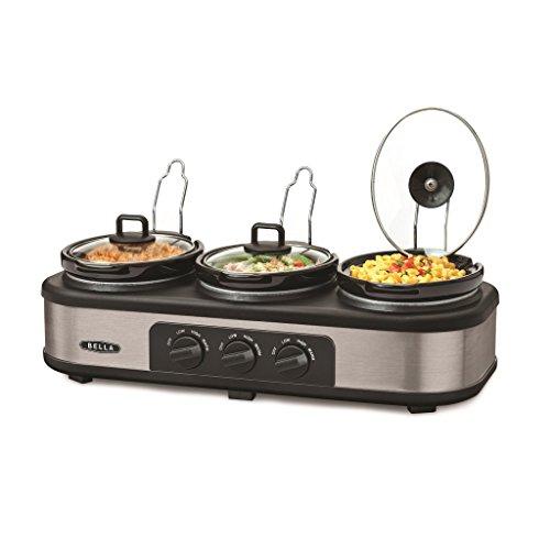 Bella 3 Hot Pot Electric Slow Cooker | Multifunctional Triple Crock Pot Food Warmer