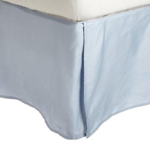 100% Premium Long-Staple Combed Cotton 300 Thread Count  Pleated Queen Bed Skirt Solid, Light Blue