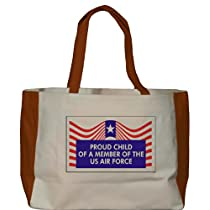 PROUD CHILD OF A MEMBER OF THE US AIR FORCE Large BELLA TOTEBAG w/ pockets (Choice of Colors)