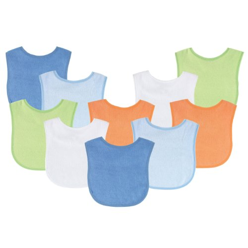 Luvable Friends 10-Pack Baby Bibs, Value Pack!, Blue & Orange Colors