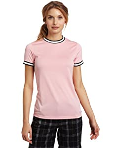 Quagmire Styles Women's Short Sleeve Solid Pique T-Shirt, Pink, Medium