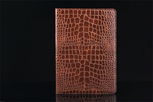 Apple Ipad Air 2 Case Borch Fashion Luxury Crocodile Pattern Leather Multi-Function Protective Leather Light-Weight Folding Flip Smart Case Cover For For Ipad Air 2 (Brown)
